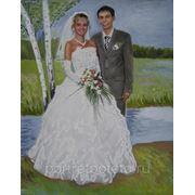 Парный свадебный портрет, портрет пастелью фото