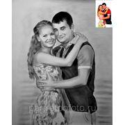 Парный портрет с фотографии сухой кистью фото