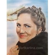 Портрет с фотографии в технике рисования Сухая кисть фото