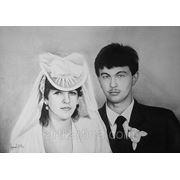 Нарисовать парный черно-белый портрет со старой фотографии фото