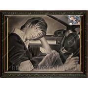 Портрет с фотографии молодого человека в машине, художник Владислав Протасов,заказ портретов, картина по фото фото