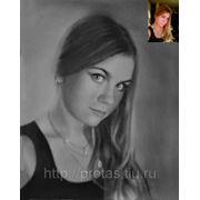 Портрет сухой кистью девушки Марины, портрет по фотографии фото