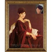 Женский портрет, коллаж на холсте, печать портрета на холсте фото