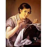 старинный ,портрет маслом на холсте фото