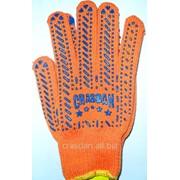Перчатки рабочие трик. из х/б пряжи с 2-х сторонней точкой ПВХ orange Арт. 584 фото