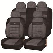 Чехлы Renault Megane II диван и спинка 1/3 02 т.серый к/з серый жаккард Экстрим ЭЛиС