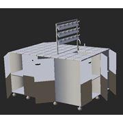 Стол островной, полка, 8 тумб, 2 ящика, 2 розетки, подсветка, мойка, стеллаж фото