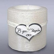 Свеча свадебная фонарик перламутр белая фото