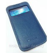 Чехол футляр-книга Melkco для Samsung GT-I9500 Galaxy S IV с окном синий фото