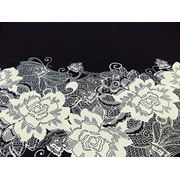 Трикотаж Лакоста Купон Цветы (молоко на черном) (арт. 05737) фото