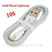 Кабель для iPhone 5 Gold Plated Lightning 8-Pin Male to USB 2.0 Male Data- White (96cm) фото