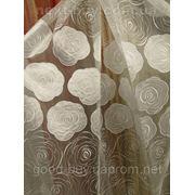 Тюль Полуорганза - с белыми розами Турция 25114 -1 фото