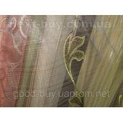 Тюль Полуорганза с Листьями Турция 2418-2 -1 фото