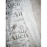 Ткань для гардин с буквенным принтом. фото
