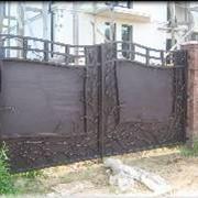 Кованые ворота с калиткой. фото
