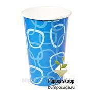 Стакан бумажный (синий) 400мл для холодных напитков фото