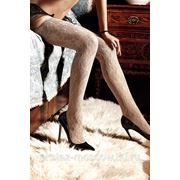 Dolce Vita Чулки светло-бежевые кружевные с роскошным цветочным орнаментом фото