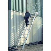 Лестницы-трапы Krause Трап с площадкой из алюминия угол наклона 45° количество ступеней 17,ширина ступеней 800 мм 824462