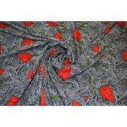 """Плательно - блузочная ткань """" Красные листья"""" фото"""