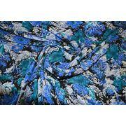 """Плательно - блузочная ткань """" Синии хризантемы """" фото"""