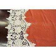 Шифон макраме мелкий белый горох на красном фото