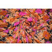"""Плательно - блузочная ткань """" Оранжевые хризантемы"""" фото"""
