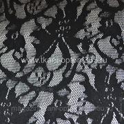 Гипюр-стрейч черный с узором фото