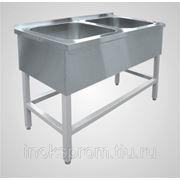 Стол производственный из нержавеющей стали AISI304 1200х600х850 с 2-секционной мойкой, с полкой фото