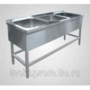 Стол производственный из нержавеющей стали AISI304 1800х600х850 с 3-секционной мойкой, с обвязкой по трем сторонам