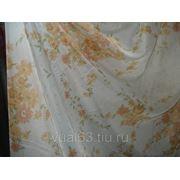 """Ткань Вуаль """"Оранжевые цветы"""" фото"""