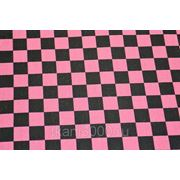 Ткань сумочно - обивочная, черно - розовая клетка. фото