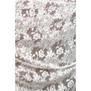 Ткани для штор. Кружево на сетке, цвет: молочный фото
