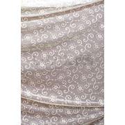 Ткани для штор. Вышивка на сетке, цвет:молочный фото