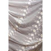 Ткани для штор, тюль с вышивкой, цвет: молоч+золото фото