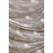 Ткани для штор. Накладная вышивка розы на льне. цвет:беж фото