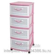 Комод пластиковый Ромашка 4-х розовый, Код: КМРО-431 фото