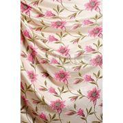 """Портьерная ткань """"крупные цветы"""", бежево-розовый фото"""