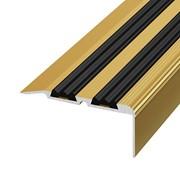 ЛУКА Порог угловой ПУ 07-900-02л золото анодир-е (0,9м) с ПВХ-вставкой 30,8х68мм фото