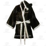 Боксерский халат бело-черный разм. L фото