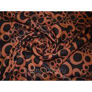 Пальтовая ткань черная с оранжевыми кругами фото
