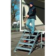 Лестницы-трапы Krause Трап с площадкой, передвижной из алюминия угол наклона 60° количество ступеней 14,ширина ступеней 1000 мм 829139 фото