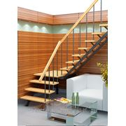 Деревянная межэтажная лестница ЛЕС-05, h2,8м фото