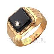 Золотой мужской перстень с фианитом фото