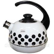 Чайник 3,5 литров белый-черный горох Т04-35-03-02 фото