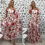 Женское длинное платье с цветочным принтом, в расцветках. ВВ-12-0518 фото