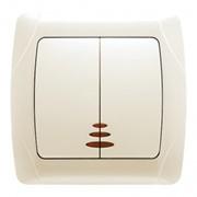 Выключатель CARMEN кремовый 2-кл с подсветкой фото