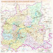 Приволжский федеральный округ настенная 100х105 см карта фото