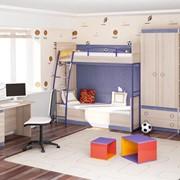 Детская комната Индиго с двухъярусной Кровaть ю фото