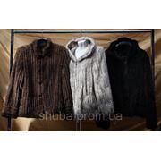 Норка вязаная, . Куртки с капюшоном и стойкой, разные цвета и модели. фото