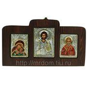 """Икона триптих """"богородица всепрощающая, иисус христос, николай угодник"""" 13*22см"""" (660214) фото"""